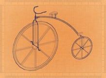 便士极少量葡萄酒自行车-减速火箭的图纸 皇族释放例证