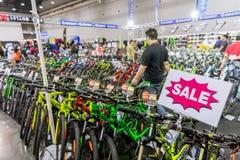 便宜的自行车促进和销售在国际曼谷公平地骑自行车2018最大的自行车或自行车商展 库存照片