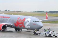 便宜的飞行jet2 免版税库存照片