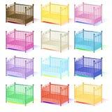 轻便小床,轻便小床的例证套分类了在传染媒介EPS的颜色3D 库存照片
