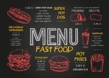 便当菜单与早餐、饮料和其他菜单项目的盖子布局在黑板 便当菜单设计和快速地 库存例证