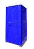 便携式的塑料洗手间-蓝色 免版税库存图片