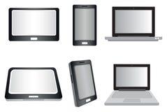 便携式计算机、片剂和聪明的电话传染媒介隔绝在白色 免版税库存图片