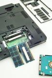 便携式计算机的随机存取存储器在白色背景 图库摄影
