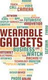 便携的小配件措辞云彩在Smartwatch的形状的文本例证 库存图片