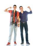 便衣的两个少年 免版税库存照片