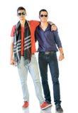 便衣的两个少年 免版税库存图片
