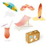 从轻便马车休息室设置的传染媒介海滩,海滩Umbrel 免版税库存图片