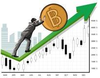 促进bitcoin的商人 库存照片