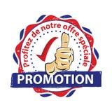 促销 特价优待!法语 免版税库存图片