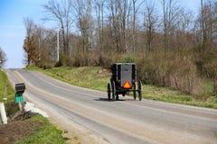 俄亥俄的门诺派中的严紧派的国家安曼人运输 免版税库存照片