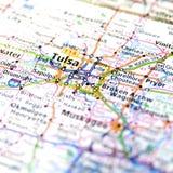 俄克拉何马旅行地图在土尔沙附近的 免版税库存图片