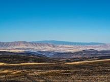 俄勒冈分站火-被烧的数千英亩 Deschutes河峡谷 免版税库存照片
