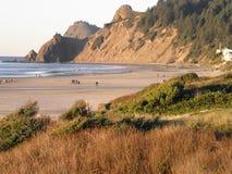 俄勒冈海岸在土地` s末端/林肯城 库存照片