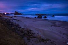 俄勒冈海岸风景在晚上 图库摄影