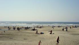 俄勒冈海滩是爆心投影日蚀的 免版税图库摄影