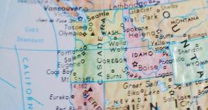 俄勒冈美国4K的转动的地球地图 股票录像