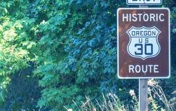 俄勒冈,美国- 2017年8月19日:美国30路线标志 这是著名的 免版税库存图片