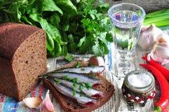 俄国与的传统单片三明治在黑麦面包的沙丁鱼与葡萄酒杯伏特加酒 免版税图库摄影