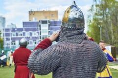俄国中世纪战士佩带的锁子甲和舵 免版税库存图片