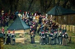1812俄国人城市Maloyaroslavets爱国战争的争斗的重建  免版税图库摄影