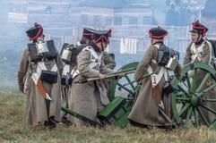 1812俄国人城市Maloyaroslavets爱国战争的争斗的重建  图库摄影