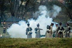 1812俄国人城市Maloyaroslavets爱国战争的争斗的重建  库存图片