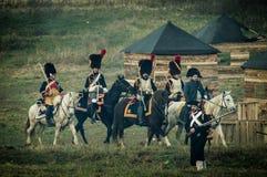 1812俄国人城市Maloyaroslavets爱国战争的争斗的重建  免版税库存图片