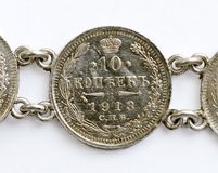 俄国人10科比银硬币从1913年 库存照片
