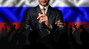 俄国候选人与人人群谈话 免版税库存图片