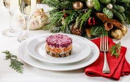 俄国假日分层了堆积沙拉用鲱鱼、甜菜、红萝卜、葱、土豆和鸡蛋 免版税库存照片