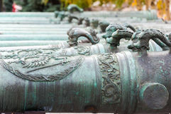 俄国军事枪17-18个世纪。克里姆林宫,俄罗斯 免版税图库摄影