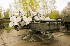 俄国军事火箭发射器后面视图 库存照片