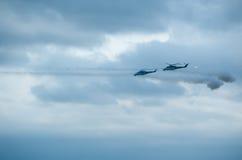 俄国军用直升机 库存照片