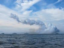 俄国军舰游行 库存照片