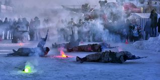 俄国军队着陆队伍的示范表现 免版税库存图片