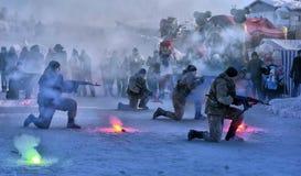 俄国军队着陆队伍的示范表现 免版税图库摄影