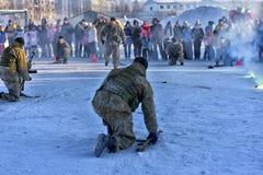 俄国军队着陆队伍的示范表现 免版税库存照片