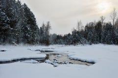 俄国冬天在西伯利亚,河Maltine,不在冬天结冰 免版税库存图片