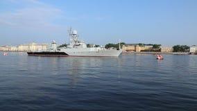 俄国反潜艇船` Kazanets `帕尔希姆班的轻武装快舰 股票视频