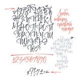 俄国和乌克兰书法字母表 包含小写和大写字目、数字和特殊符号 库存照片