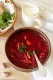 俄国和乌克兰烹调-罗宋汤一个传统盘  汤用甜菜、肉、土豆和豆 服务与的酸性稀奶油 图库摄影