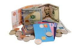 俄国和美国金钱 免版税库存照片