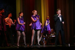 俄国和苏联音乐,人群喜爱,闪耀歌手,歌手爱德华Hil (先生星  Trololo) 库存照片