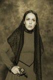 俄国商人妇女的画象 库存图片