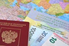 俄国国际护照、欧元和立陶宛人由在波尔布特的路轨(UPD ZhD)谎言简化了运输文件 免版税库存照片