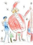 俄国圣诞节字符:Ded莫罗兹& x28; 父亲Frost& x29;并且Snegurochka & x28; 雪Maiden& x29;  children& x27; s手pai 免版税库存照片