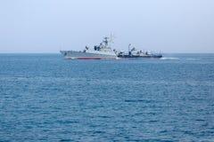 俄国在大洋里航行的巡逻艇在黑海 库存图片
