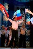俄国士兵表现和歌曲的水手、舞蹈家和列宁格勒军区的舞蹈合奏 免版税库存图片