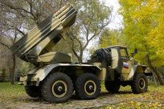 俄国多管火箭炮BM-21 库存照片